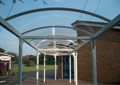gallery/clear polycarbonate barrel vaulted canopy